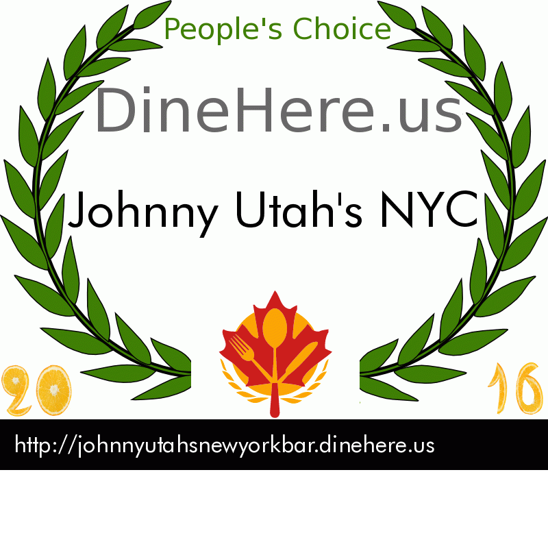 Johnny Utah's NYC DineHere.us 2016 Award Winner